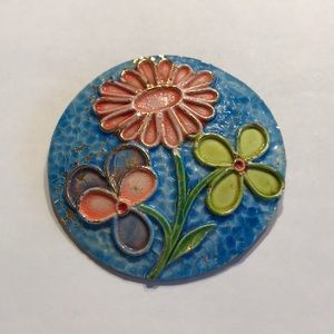 Vintage brooch by ART - round textured enamel